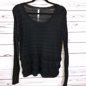 Kensie Black long Sleeved Striped Sweater XS